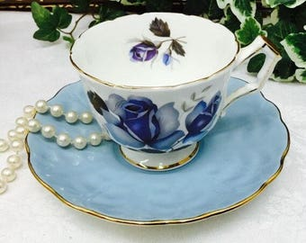 Aynsley teacup and saucer in gorgeous blues.