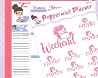 Weekend and Friyay Unicorn Stickers #253