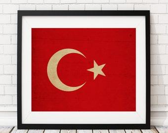Turkey Flag Art, Turkey Flag Print, Flag Poster, Country Flags, Flag Painting, Turkish Flag, Turkish Gifts, Wall Art, Turkish Art