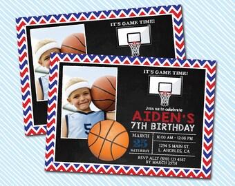 Digital Printable Basketball Birthday Invitation. Kid Birthday. Boy Birthday