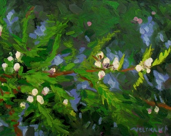 oil painting // still life of pine branches and white berries // work of art // hand-painted impressionism contemporary art