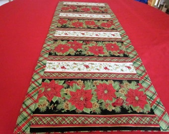 Poinsettia and Plaid Table Runner