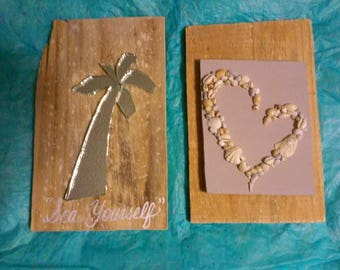 Mirrored Palm and Shell heart on reclaimed wood: mosaic  Set of 2 just reduced