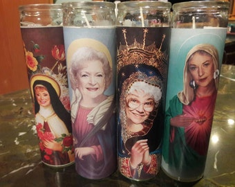 One set of all four Golden Girl candles: Dorothy, Sophia, Rose, and Blanche!