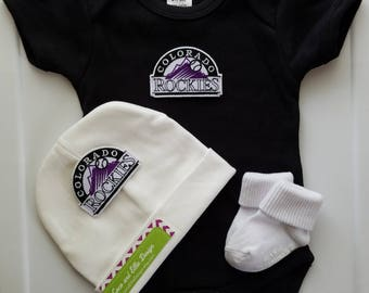 Colorado rockies outfit with hat/ rockies outfit for boy/colorado rockies baby gift/rockies for baby/baby colorado rockies outfit
