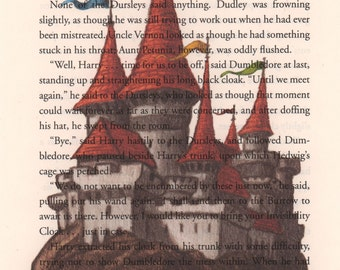 Hogwarts Art Print, Harry Potter Book Page Art, Print on Book Page, Harry Potter Illustration