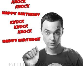 Big Bang Theory birthday Card, Sheldon Cooper birthday card,  Funny Big Bang Theory Card, Knock Knock joke birthday card, card for geeks,