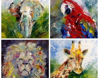 Small Paintings Set African Animals 4 Pieces Painting Wall Decor For Children's Room Oil Paintings Palette Knife Miniatures Paintings Canvas