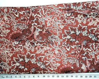 Fabric -6yd piece Old Fashioned Brown/Sepia/Birds -Grouse/Quail/Partridge -Floral/Leaves/outdoor/rustic/vintage type print(#yd049) -Benertex
