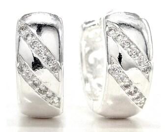 Hoop Sterling Silver Earrings, Crystal Gems Zirconia, Sterling Silver Hallmarked Hoop Earrings, Sparkling, Silver Hoop Gems, Black Gift Box