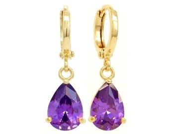 18K Yellow gold drop plated earrings, Deep raindrop purple gems, Purple, Pear gem, Bridal gift, Purple earrings, Gold purple, Black gift box