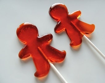 6 Large Gingerbread Man Lollipops Christmas Flavors Stocking Stuffers Gingerbread Boy Christmas Party  Favors Candy