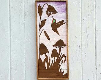 Reclaimed Wood Wall Art,  Hummingbird, Lath Art,  Wall decor, Flower, Acrylic Painting,  Pink, Lavender,  Gift