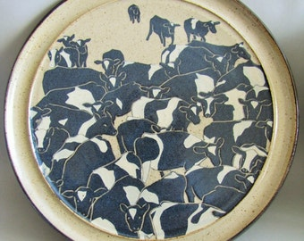 Stunning Large Studio Pottery Wall Plate of Friesian Cows - British Art Studio Pottery Vintage