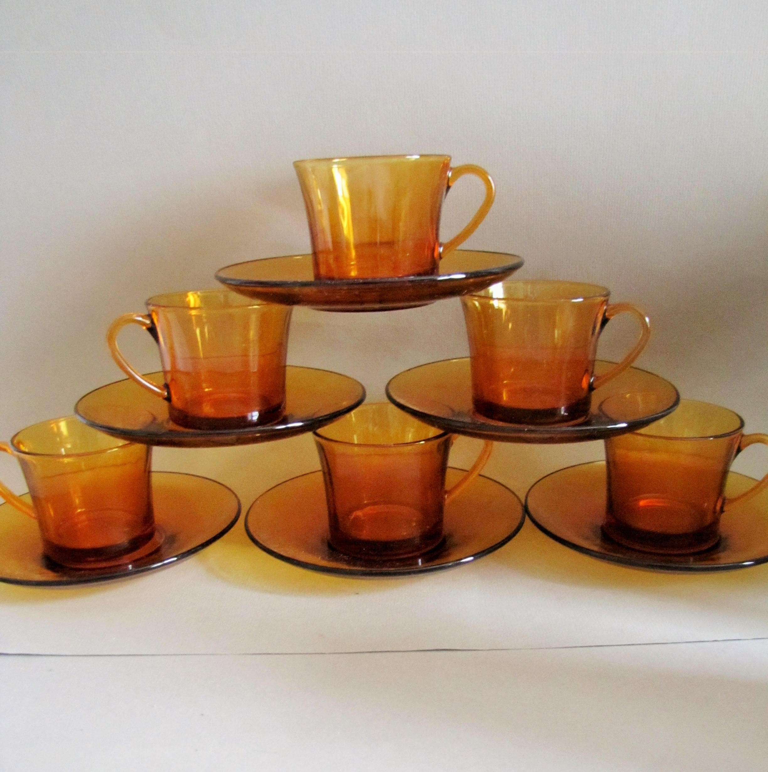 Vintage French Amber Glass Coffee Cups and Saucers Set 6