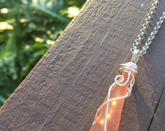 Orange Sea Glass Wire Wrapped Pendant Necklace/Gift For Her