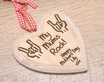 My Mums Rock personalised shabby chic heart, Lesbian Parents, LGBT, Mother Day Gifts