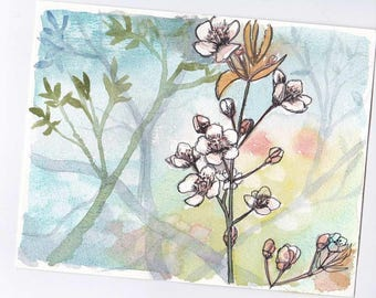 Watercolor flowers theme spring with flowers in bloom