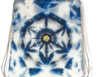 Mandala backpack cotton fabric, hand stained with ice in colours blue, white and yellow