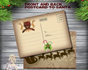 POSTCARD TO SANTA,Postcard to Santa Claus,Postcard to the North Pole,Christmas Postcard,Santa Claus Postcard,Letter To Santa Claus,Christmas