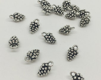 BULK 10 Pine Cone Charms Antique Silver Tone 3D Nature