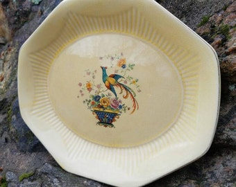 Vintage Antique Platter/Tray- Yellow, Blue Bird and Basket, Gold Trim, Floral.- Salem China Company, Bird of Paradise.