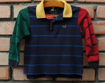 Vintage 90s TOMMY HILFIGER Color Block Striped Youth Kids Polo Shirt