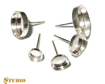 925 Real Sterling silver stud earrings with round bezel cups different sizes - 1 pair