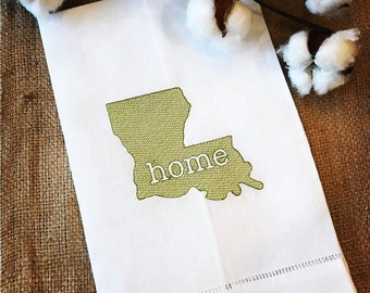 Linen Hemstitched Guest Towel - Tea Towel - Louisiana - Home