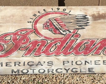 Indian Motorcycle Wood Sign