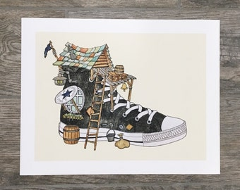 Chuck's House 11x14 Fine Art Print of Watercolor Painting, Converse All Stars Shoe House Illustration by Ryan Lisko