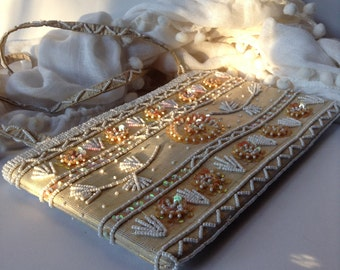 Lovely Detailed Beaded / Sequined Clutch / Evening Bag / Prom / Wedding
