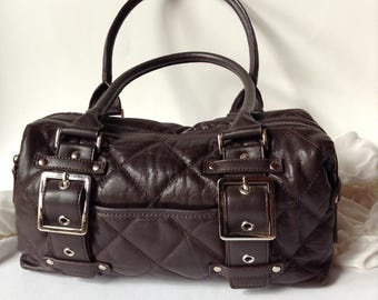 Wilsons Chocolate Brown Quilted Genuine Leather Satchel / Shoulder Bag / Purse