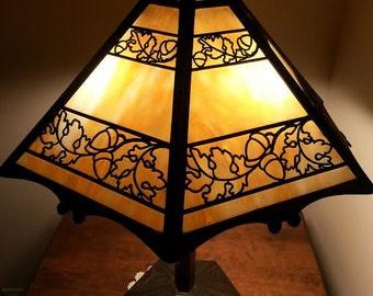 Glass Slag Lamp with Acorn Motif