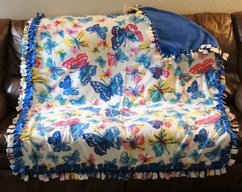 LARGE Double Sided Fleece Butterfly Blanket ~ Blue, pink, yellow, ivory