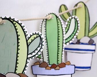 Paper Garland Kit, Paper Craft Kit, DIY Paper Bunting, Craft Kit, DIY kit, Cactus Banner, Cactus Decorations, Cactus Garland, Paper Crafts
