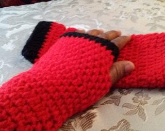 SALE***Crochet wrists warmer, winter accessories (Red & black)