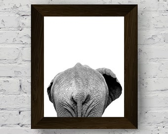 elephant print, african animal wall art, black and white photography, nursery animal print, printable artwork, instant digital download