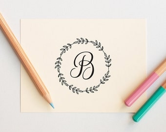 Custom Rubber Stamp, Monogram Stamp Self Inking, Personalized Initial Stamp, Customized Gifts, Custom Stamp, Letter Stationary, Wreath Stamp