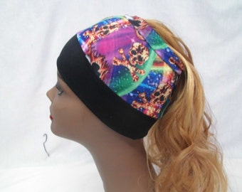 Ponytail cap with printed skulls hole in top for your hair braids,bun,ponytail,natural hair