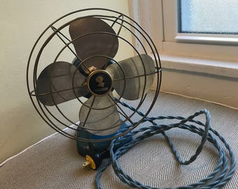 Vintage Coronado Personal Fan in Electric Blue