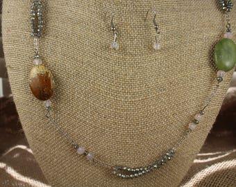 """36"""" Jasper Stone Necklace/Earring Set - Estate Sale -Jewelry - #620"""