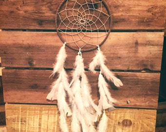 Dream catcher with white feather and glass beads, Tan suede dream catcher, native american dreamcatcher, boho decor, wall hanging, wedding