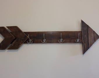 wooden arrow coat hanger, wall coat hanger, Rustic coat hanger