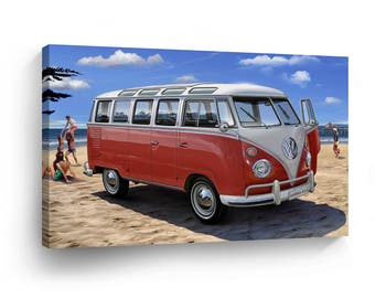 Classic Volkswagen Van Red Beach Painting Canvas Print Home Decor Camper Old Vintage Bus