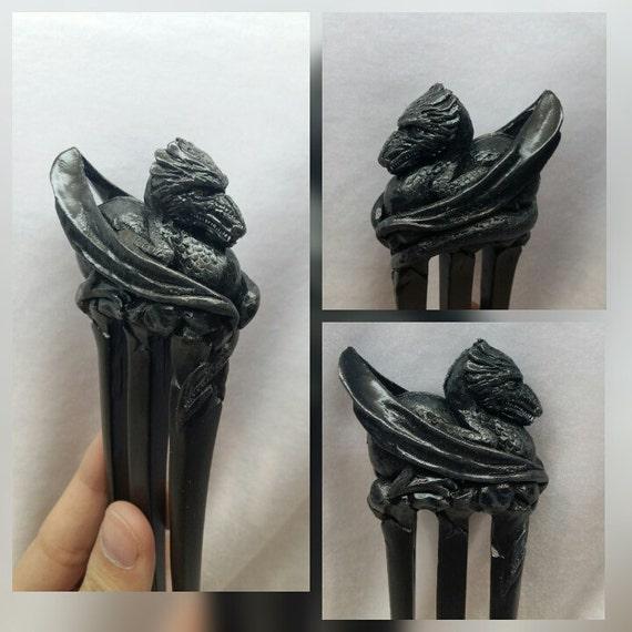 Wooden hair accessories. Hair fork. Wooden hair pin. Wooden hair fork. Wood carving. Gift ideas. Wooden dragon. Hair fork 3 prong Dragon.