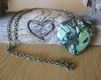 Necklace with a Green Heart Shaped Sea Sediment Jasper Pendant on a Antique Bronze Chain