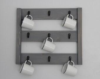 Large coffee mug rack // Kitchen storage rack