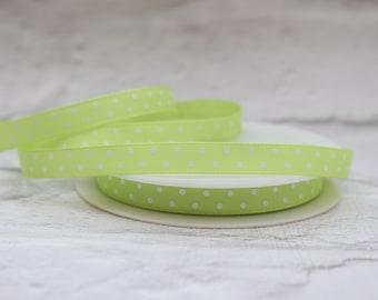 Grosgrain Ribbon, 2 Meters Ribbon, 10mm ribbon, Lime Green Ribbon, Craft Ribbon, Birthday Ribbon, Polka Dot Ribbon, Etsy Shop Supplies