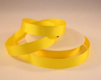 Grosgrain Ribbon, Yellow Ribbon, 1 Meter Ribbon, 16mm Ribbon, Craft Ribbon, Sewing Supplies, Etsy Shop Supplies